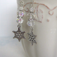 Silver Sparkle Snowflake Dangle Earrings - Holiday Jewelry - Winter Fashion