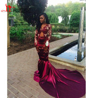 Burgundy Long Sleeves Lace Mermaid Evening Dress 2017 Backless Court Train Sheer Prom Dress Vestiods Formal Women Pageant Gowns