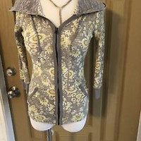 Free People Women's Yellow Floral H Zip Up, Waffle Knit, 3/4 Sleeves, SZ Small