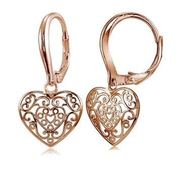 Rose Gold Flashed 925 Silver Polished Filigree Heart Danlge Leverback Earrings