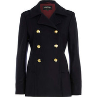 Navy contrast trim pea coat - coats - coats / jackets - women