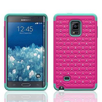 Galaxy Note Edge Case, Crystal Rhinestone Studded Hybrid Dual Layer Shock Absorbent Case for Samsung Galaxy Note Edge - Hot Pink/Teal