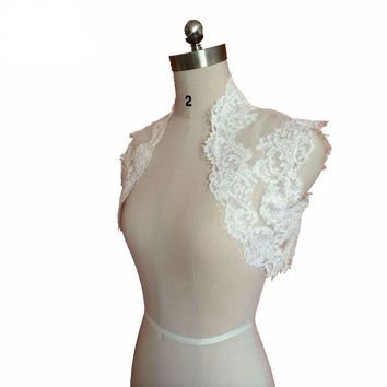 Lace Wedding Jackets Ivory Sleeveless Wedding Boleros Bridal Party Jackets