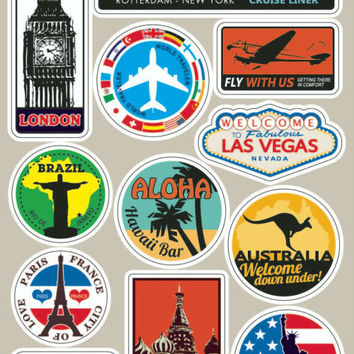 World Famous Scenic Spot Trolley Travel Bag Luggage Stickers Laptop Skins High-res Vinyl Stickers Guitar Skateboard Car Sticker