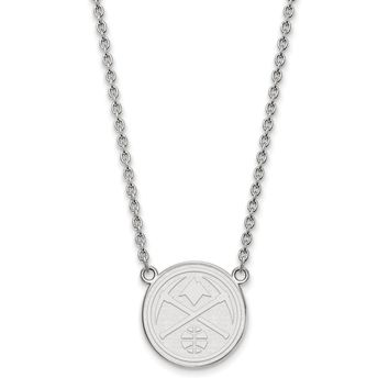 NBA Denver Nuggets Large Pendant Necklace in 14k White Gold - 18 Inch