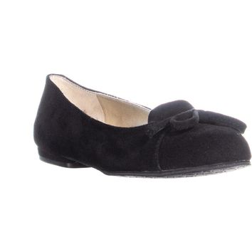 Tahari Harlow Front Bow Loafer Flats, Black, 6.5 US