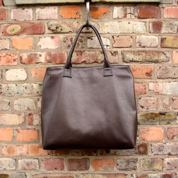 Large leather tote bag - Brown oversized bag - travel bag - large leather shopping tote - lined leather tote with zipper