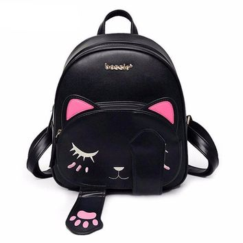 Cat bag Students Pu backpack for teenagers girls