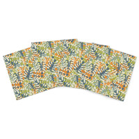 "Julia Grifol ""Summer Tropical Leaves"" Green Orange Indoor/Outdoor Place Mat (Set of 4)"