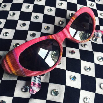 90s Flocked Fuzzy Red Purple and White Plaid Sunglasses with black Lenses