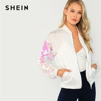 Trendy SHEIN White Preppy Casual Contrast Sequin Sleeve Zip Up Bomber Fashion Jacket Autumn Highstreet Elegant Women Coat Outerwear AT_94_13