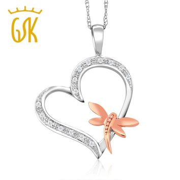 GemStoneKing Two-Tone 10K White & Rose Gold Heart Shape Dragon Fly Diamond Pendant For GIRL