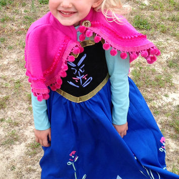 Anna Frozen Dress - Disney Inspired Princess Anna Girl's Costume Dress and Separate Cape - child's - handmade with high quality fabrics
