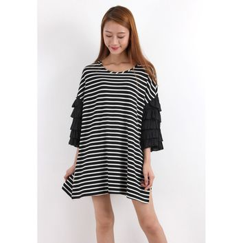Zacro T-Shirt Tunic Top With Layered Ruffle Sleeves In Breton Stripe