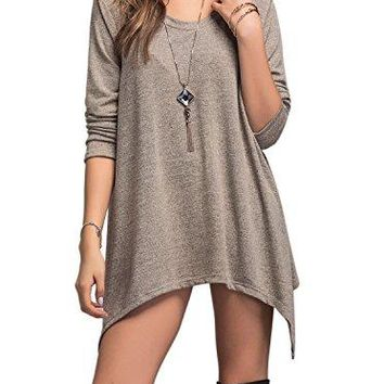 Adreamly Women's Long Sleeve Loose Lightweight Sweater Tunic Pullover Tops