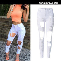 Hot Popular Ripped boyfriend Hole Slim High Waisted Jeans _ 1103