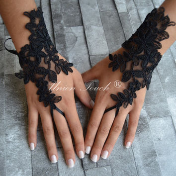 black wedding glove halloween gloves black lace cuffs lace gloves Fingerless Gloves bridal gloves Free Ship halloween gloves golve