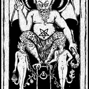 Devil Tarot Card stretched canvas print