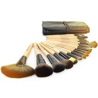Roll up Case Cosmetic Brushes Kit 24 PCS Pro Wooden Handle Makeup Brush Tool (Wood)