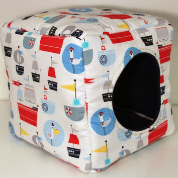 Guinea Pig Cozy Cube, Reinforced Hedgehog Hidey, Hedige Box - Nautical Pirates with Navy Fleece
