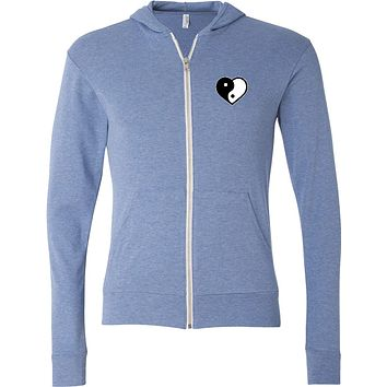Yin Yang Heart Pocket Print Triblend Full-Zip Hoodie Tee