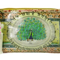 Vintage Design Peacock Love Graphic Art Design Oil Cloth Medium Make-up or Accessory Travel Bag