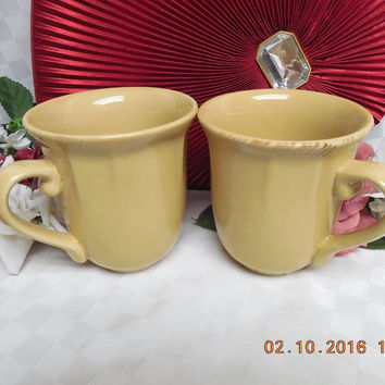 Natural Elements Tan by Home Trends Embossed Scrolls set 2 Mugs