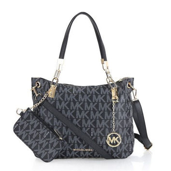 MICHAEL KORS CHANDLER CHAIN MK LOGO SHOULDER TOTE BAGS