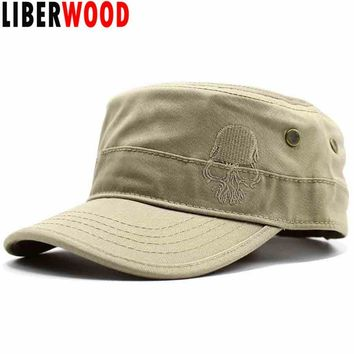 Trendy Winter Jacket LIBERWOOD Brand Men Embroidered skull Cap cotton flat top hat Army Cadet hat skulls punisher baseball cap adjustable strap AT_92_12