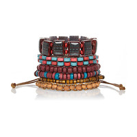 River Island MensRed tribal bead bracelet pack