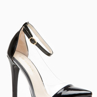 Liliana  Black Pointed Toe Ankle Strap Vinyl Heels