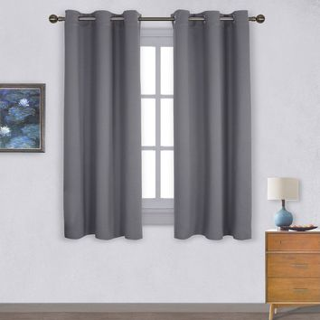 Thermal Insulated Grommet Blackout Curtains for Bedroom (2 Panels, W42 x L63 -Inch,Grey)