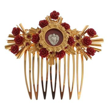 Dolce & Gabbana Red Roses Gold Heart Sicily Hair Comb