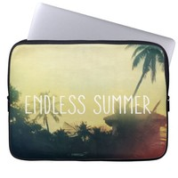 Yellow Cool Vintage Summer Beach Sunset Photo Laptop Sleeve