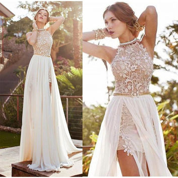 Sexy Backless  White Lace Long Chiffon Evening Formal Party Dresses BD66