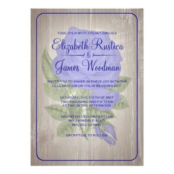 Royal Blue Rustic Floral Wedding Invitations