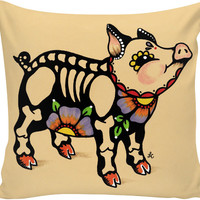 Day of the Dead PIG Pillow