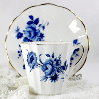 Lefton Bone China Blue and White Teacup, Vintage Tea Cup and Saucer, Made in England 12614