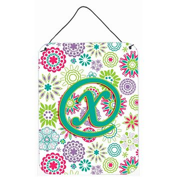 Letter X Flowers Pink Teal Green Initial Wall or Door Hanging Prints CJ2011-XDS1216