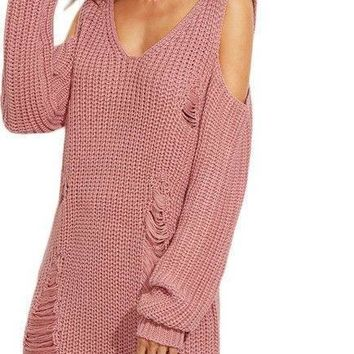 COLROVIE  Pink V Neck Cold Shoulder Ripped Sweater Dress Autumn Female Long Sleeve Shift Mini Dress