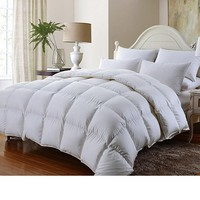 Grandeur Linen's Queen Size Luxurious 1000 Thread Count Siberian GOOSE DOWN Comforter, 100% Egyptian Cotton Cover, Solid White Color, 750 Fill Power, 50 Oz Fill Weight