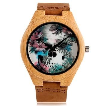 Quartz Madera Bamboo Nature Wood WristWatch Genuine Leather Band Strap Fashion Wooden Men Skull Punk Clock Reloj Calavera