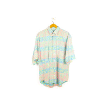 BUGLE BOY pastel neon short sleeve button down shirt - 80s / 90s - wild print - tribal pattern - pink + green -oversized - baggy - mens L