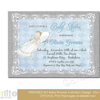 Blue Gray Baby Shower Invitation - Vintage Style, Baby Shower Invitation - 5x7 - Baby Boy - Burlap Lace Chic - Printable Invitation Design