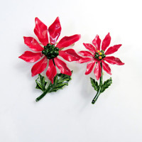 Christmas Brooch Set Of Two Red Poinsettias Scatter Pins Metal Vintage Collectible Gift Item 2333