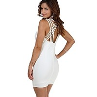 Ivory Caged Bodycon Dress