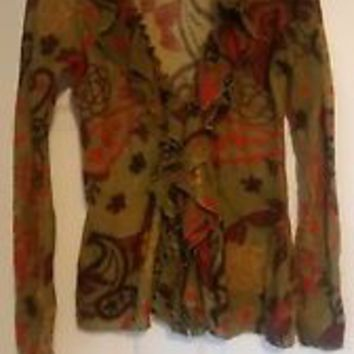 Guinevere L sweater wrap ruffle edge cardigan wool green fall colors good used
