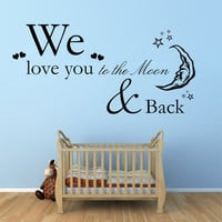 We Love You To The Moon Vinyl Wall Art Sticker Decal by Purrfic