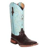 Ferrini Ladies Baby Gator Print Chocolate/Baby Blue Boot in Cowboy Boots / Ropers