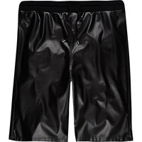 River Island MensBlack leather-look shorts
